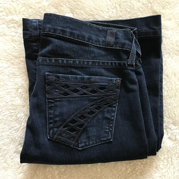 7 For All Mankind Denim - 7 for all Mankind Dojo Jeans Cutout Pocket Dark 25